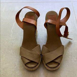 Tory Burch Olive Espadrille Wedge Sandal